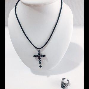 Swarovski crystal necklace and ring set